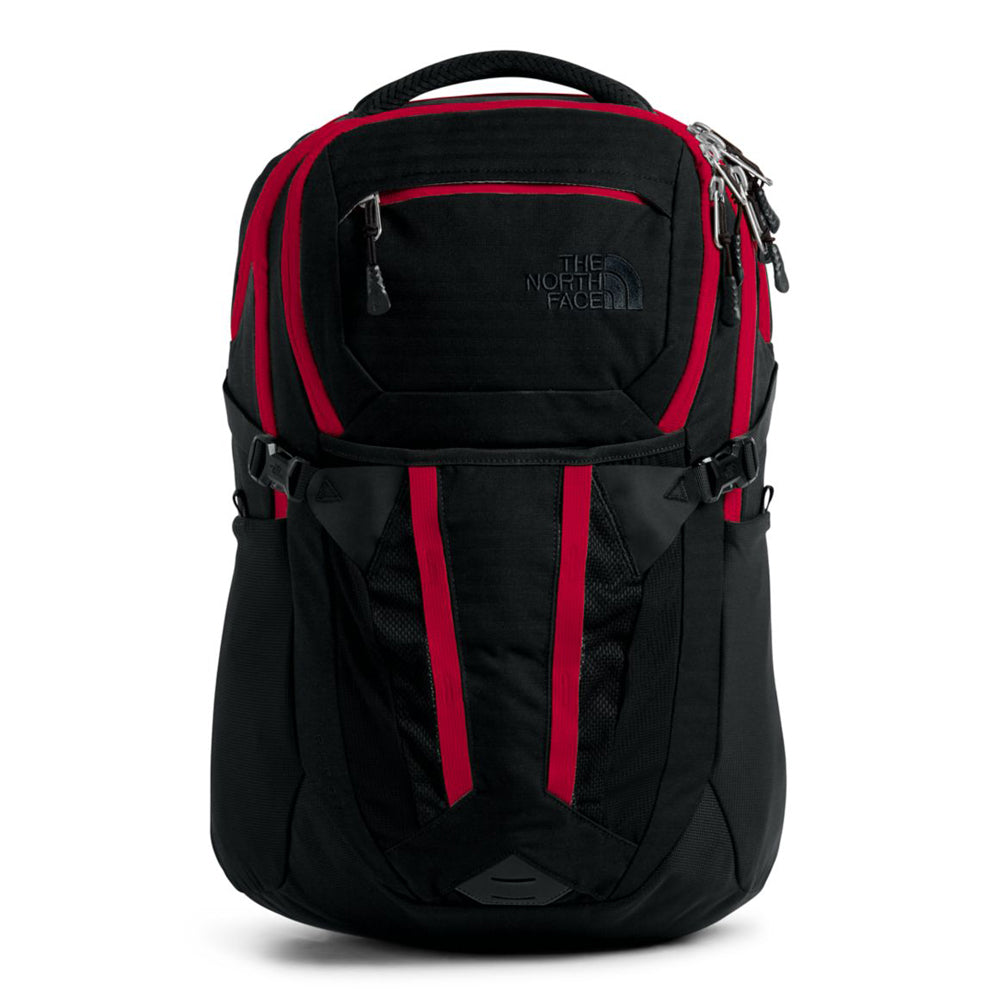 Unisex The North Face Recon Backpack in TNF Black Light Directional Heather/TNF Red from the front view