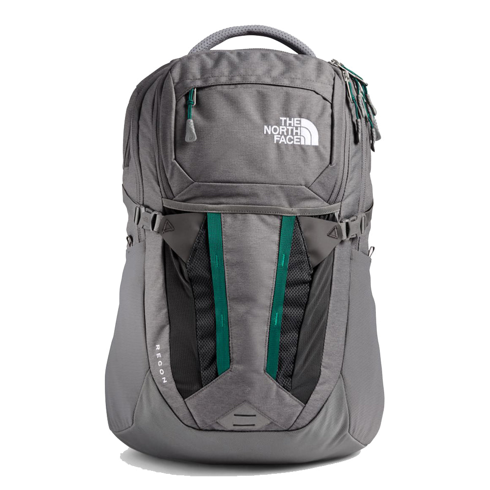 Unisex The North Face Recon Backpack in Zinc Grey Dark Heather/Evergreen from the front view