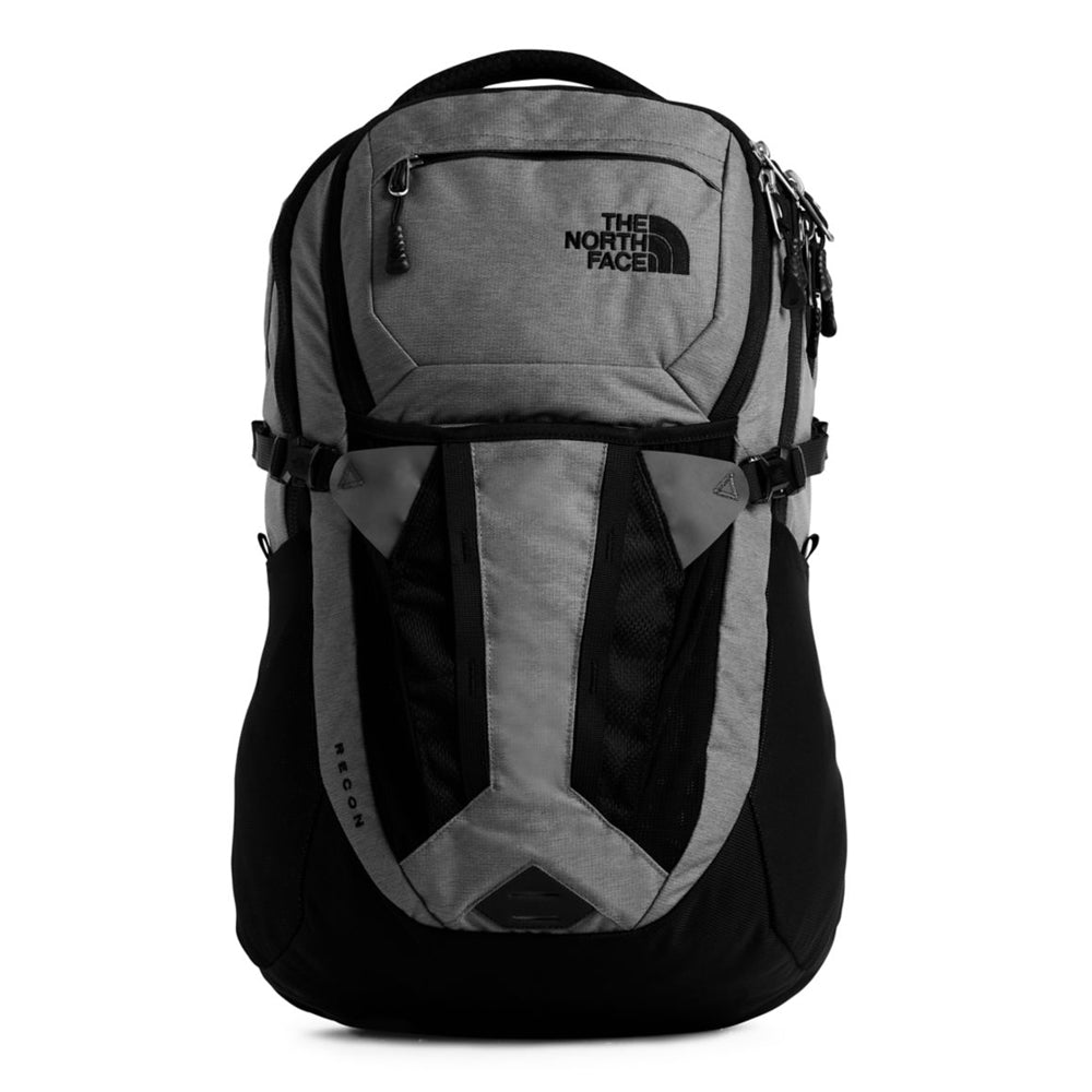 Unisex The North Face Recon Backpack in Zinc Grey Dark Heather/TNF Black from the front view