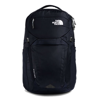 The North Face Router Backpack in Aviator Navy/Meld Grey from the front