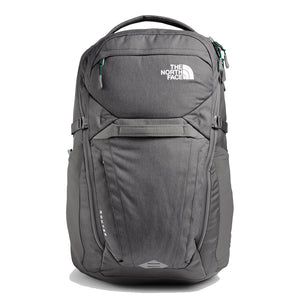 The North Face Router Backpack in Zinc Grey Dark Heather/Evergreen from the front