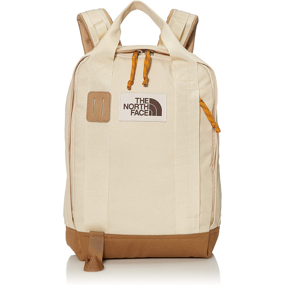 The North Face Tote Pack Backpack in Bleached Sand Dark Heather/Utility Brown from the front