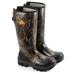 "Thorogood Men's 867-0100 Infinity FD 17"" Waterproof Rubber Boot in Mossy Oak® Bottomland® from the side"