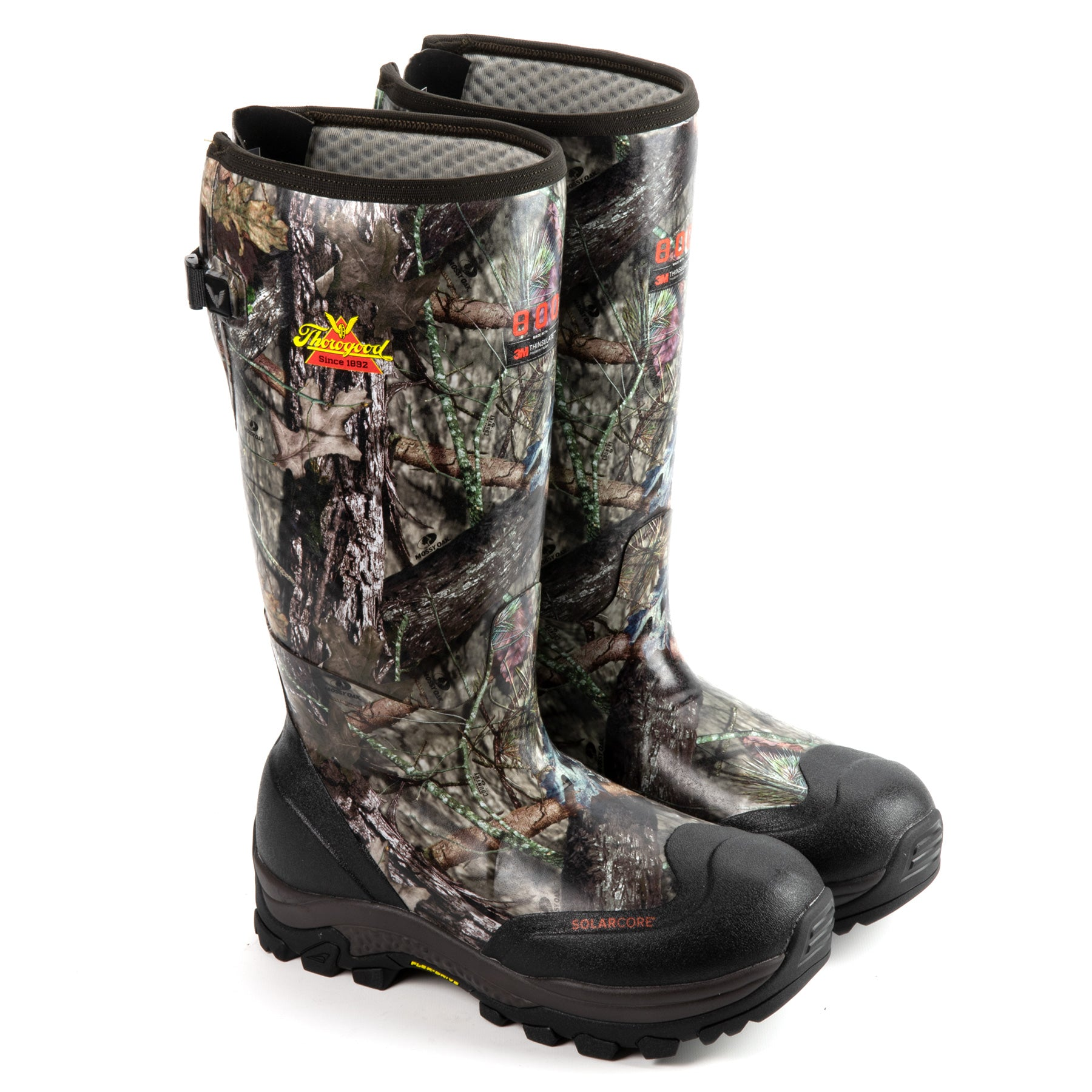 "Infinity FD 17"" Waterproof 800g Rubber Work Boot in Mossy Oak Break-up Country color from the side view"