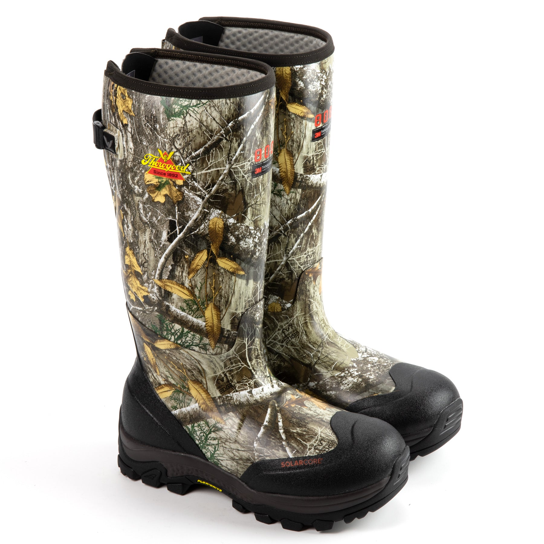 "Thorogood Men's Infinity FD 17"" 800g Waterproof Rubber Boot in RealTree® EDGE® from the side"