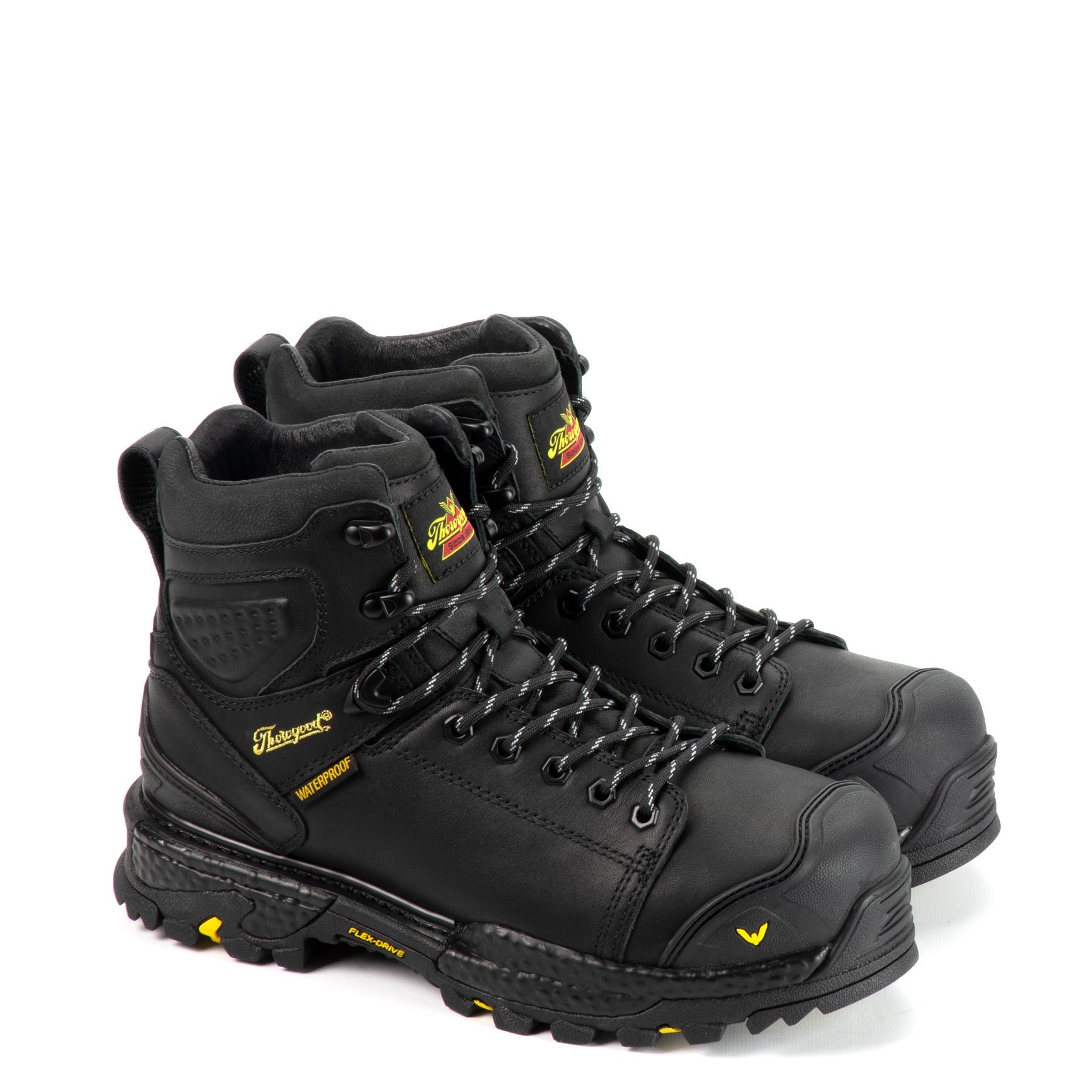 "Thorogood Men's Infinity FD Series 6"" Waterproof Composite Work Boot in Black from the side"