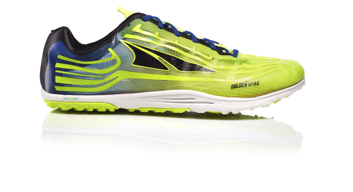 Altra Unisex Golden Spike Trail Running Shoe in Lime/Blue from the side