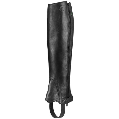 Unisex Ariat Breeze Half Chap in Black from the front