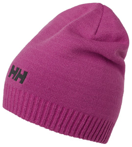 Helly Hansen Unisex Brand Beanie in Festival Fuchsia from the side