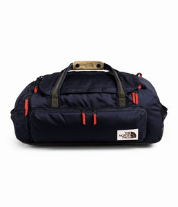 Unisex The North Face Berkeley Duffel Medium in Aviator Navy Light Heather/New Taupe Green from front view