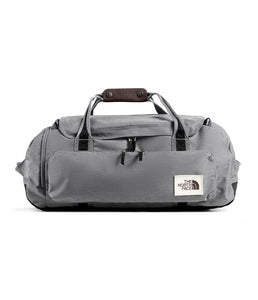Unisex The North Face Berkeley Duffel Medium in Mid Grey Light Heather/TNF Black Heather from front view