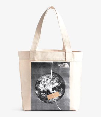 Unisex The North Face Cotton Tote in Asphalt Grey Fixed Planet Print from front view