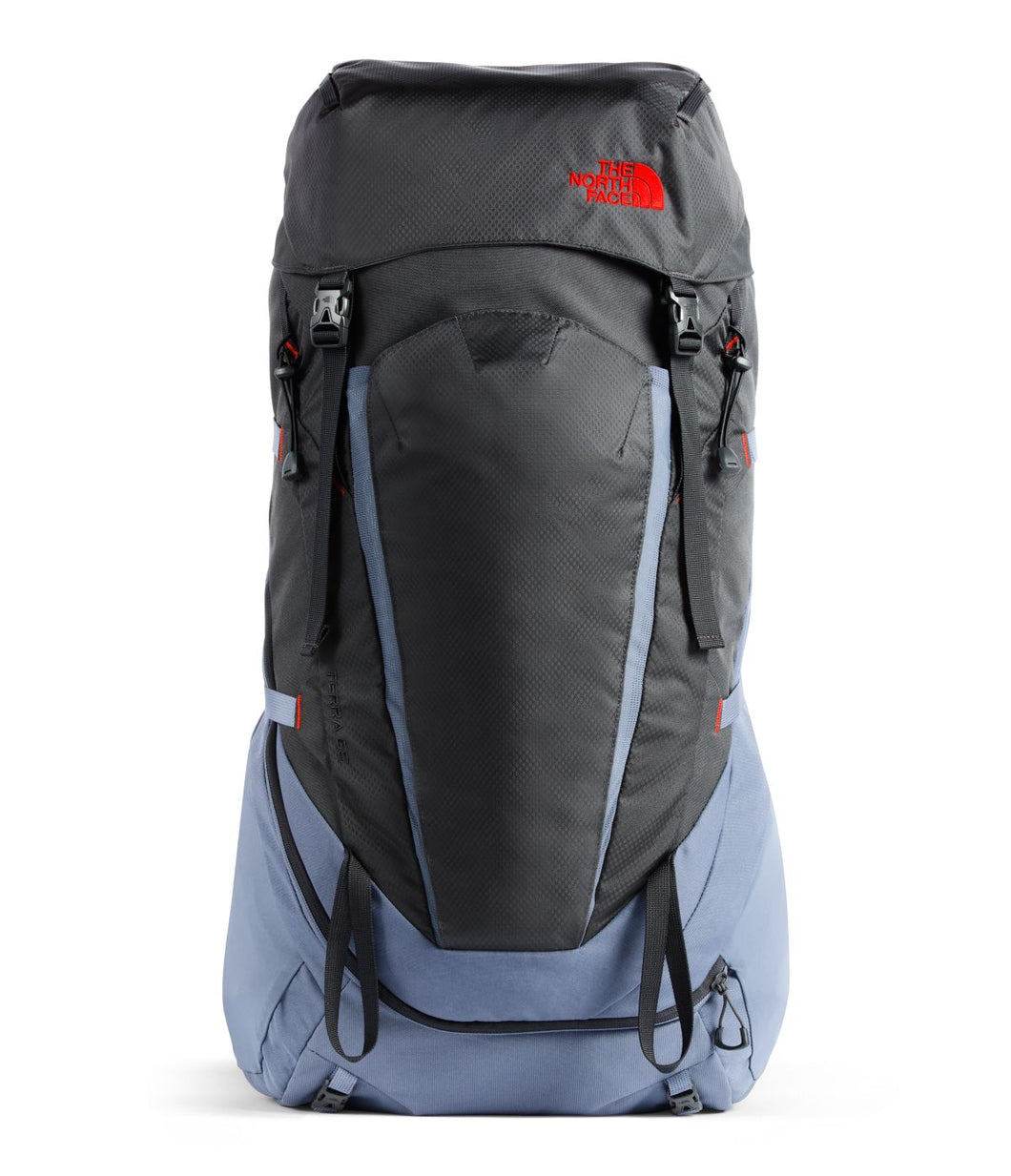 Unisex The North Face Terra 65 Backpack in TNF Black/TNF Black from front view