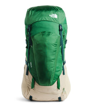 Load image into Gallery viewer, Unisex The North Face Terra 65 Backpack in Twill Beige/Sullivan Green from front view