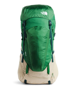 Unisex The North Face Terra 65 Backpack in Twill Beige/Sullivan Green from front view