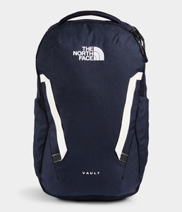 Unisex The North Face Vault Backpack in Aviator Navy Light Heather/TNF White from front view