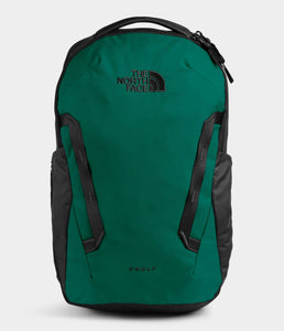 Unisex The North Face Vault Backpack in Evergreen/TNF Black from front view