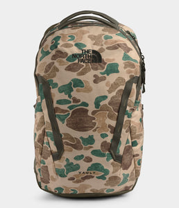 Unisex The North Face Vault Backpack in Hawthorne Khaki Duck Camo Print/New Taupe Green from front view
