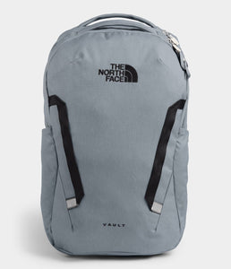 Unisex The North Face Vault Backpack in Mid Grey Dark Heather/TNF Black from front view