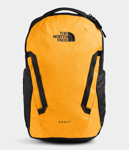 Unisex The North Face Vault Backpack in Summit Gold/TNF Black from front view