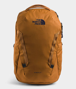 Unisex The North Face Vault Backpack in Timber Tan/TNF Navy from front view