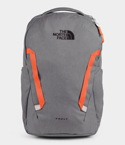 Unisex The North Face Vault Backpack in Zinc Grey Dark Heather/Persian Orange from front view