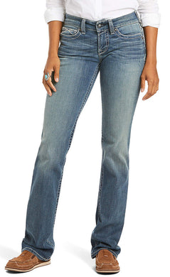 Women's Ariat R.E.A.L. Mid Rise Stretch Icon Stackable Straight Leg Jean in Ocean