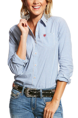 Women's Ariat Wrinkle Resist Kirby Stretch Shirt in Classic Blue Stripe