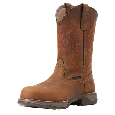 Women's Ariat Anthem Round Composite Toe Work Boot in Distressed Brown from the front