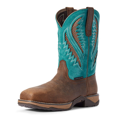 Women's Ariat Anthem VentTEK Composite Toe Work Boot in Royal Chocolate/Turquoise