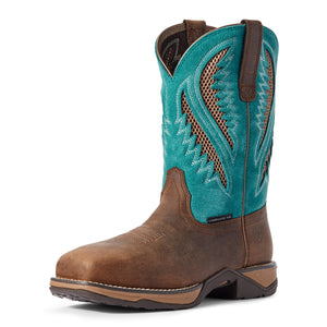 Women's Ariat Anthem VentTEK Composite Toe Work Boot in Royal Chocolate/Turquoise from the front