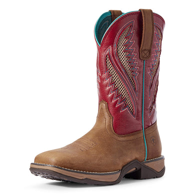 Women's Ariat Anthem VentTEK Western Boot in Antique Tan/Brick Red from the front