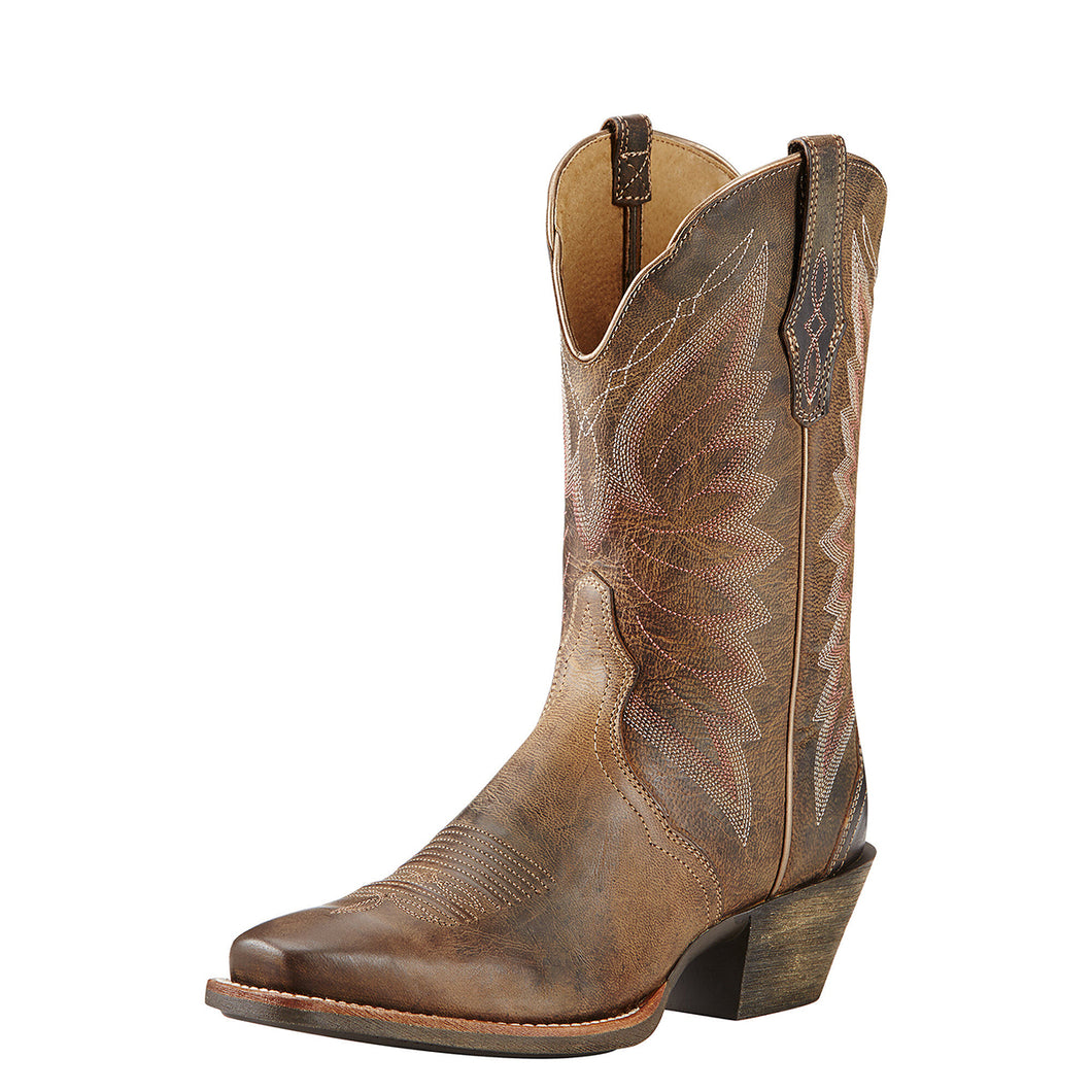 Women's Ariat Autry Western Boot in Woodsmoke from the front