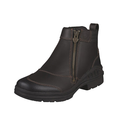 Women's Ariat Barnyard Side Zip Barn Boot in Dark Brown from the front