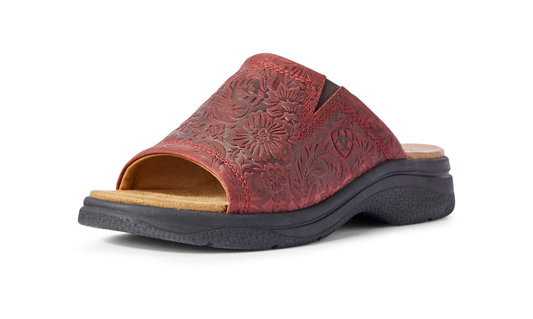 Women's Ariat Bridgeport Slide-on Sandal in Red Floral Emboss from the front