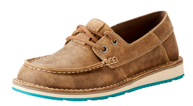 Women's Ariat Cruiser Castaway Boat Shoe in Brown Bomber from the front