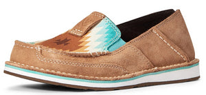 Women's Ariat Cruiser Slip-on Shoe in Dark Tan Suede/Saddle Blanket Print from the front