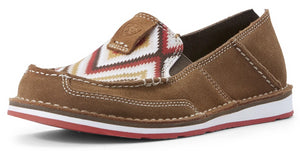 Women's Ariat Cruiser Slip-on Shoe in New Earth Suede/Red Aztec from the front
