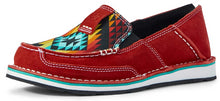 Load image into Gallery viewer, Women's Ariat Cruiser Slip-on Shoe in Ruby Suede/Black Serape from the front