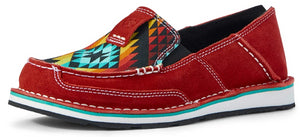 Women's Ariat Cruiser Slip-on Shoe in Ruby Suede/Black Serape from the front