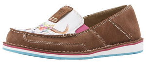 Women's Ariat Cruiser Slip-on Shoe in Saddle Tan Suede/Floral Steerhead from the front