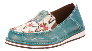 Women's Ariat Cruiser Slip-on Shoe in Steer And Roses Print/Shimmer Turquoise from the front