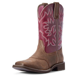 Women's Ariat Delilah Western Boot in Java/Burgundy from the front