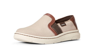 Women's Ariat Eco Ryder Slip-on Shoe in Brown Canvas from the front