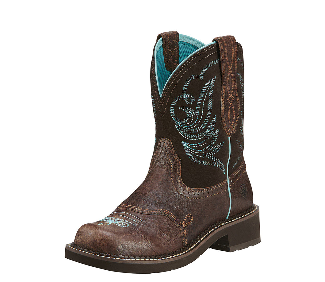 Women's Ariat Fatbaby Heritage Dapper Western Boot in Royal Chocolate/Fudge from the front