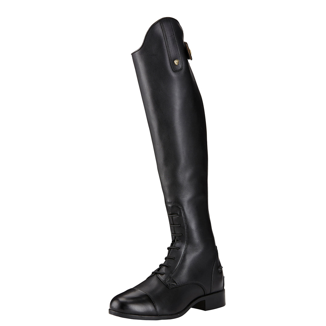 Women's Ariat Heritage Contour II Field Zip Tall Riding Boot in Black from the front