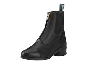 Women's Ariat Heritage IV Zip Paddock Boot in Black from the front