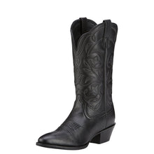Load image into Gallery viewer, Women's Ariat Heritage R Toe Western Boot in Black Deertan
