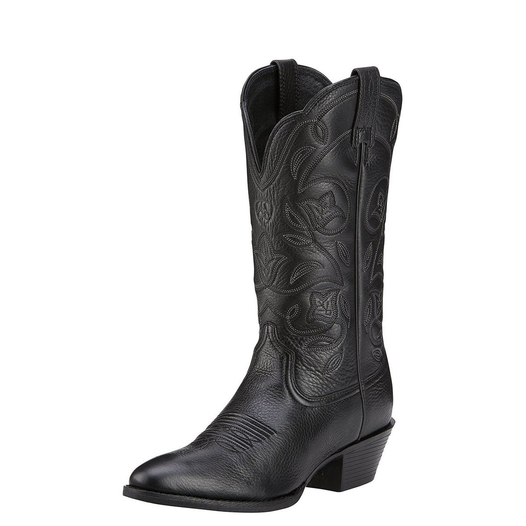 Women's Ariat Heritage R Toe Western Boot in Black Deertan