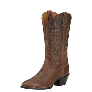 Women's Ariat Heritage R Toe Western Boot in Distressed Brown